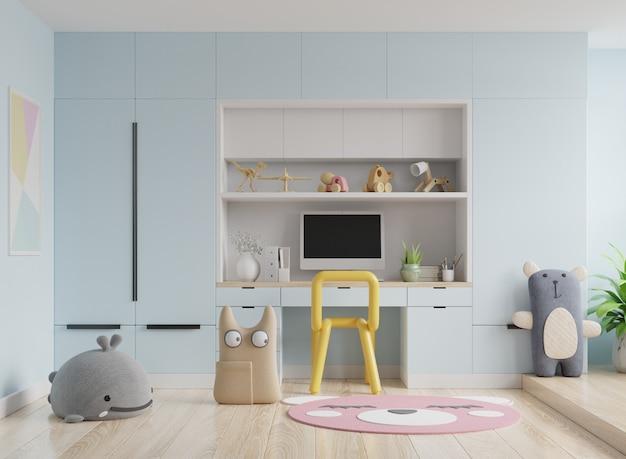 Marco en la habitación de los niños en la pared azul Foto Premium
