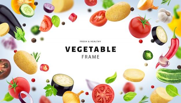 Marco hecho de diferentes verduras voladoras, hierbas y especias, con espacio de copia Foto Premium