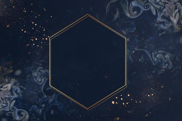 Marco de oro sobre fondo azul Foto gratis