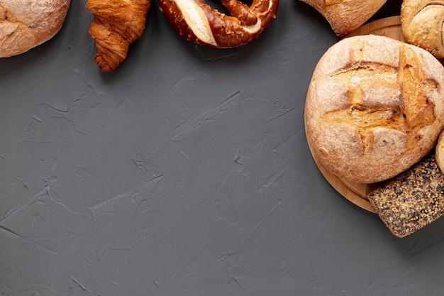 Marco de pan delicioso vista superior Foto gratis