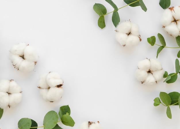 Marco plano laico con flores y hojas de algodón Foto gratis