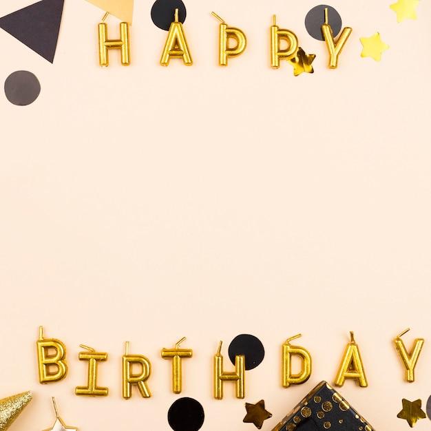 Marco de velas de cumpleaños elegante vista superior Foto Premium