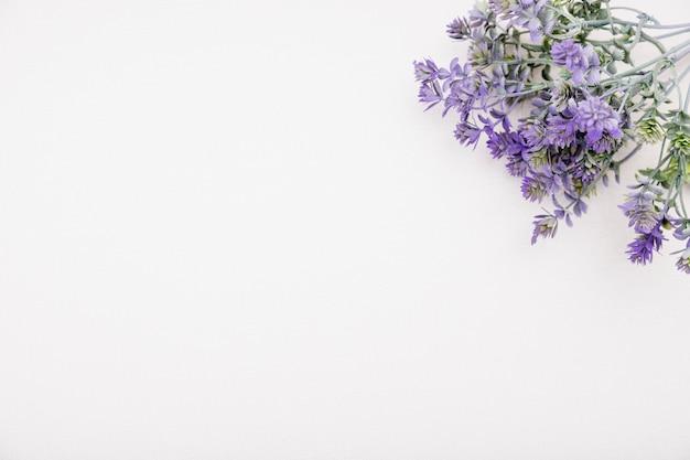 Marco de vista superior con flores de color púrpura y espacio de copia Foto gratis