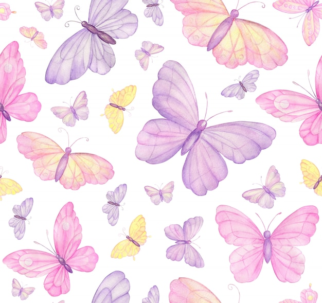 Mariposas en blanco de patrones sin fisuras Foto Premium
