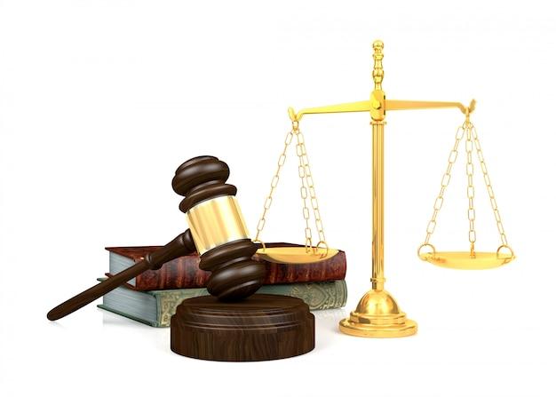 Mazo de juez de madera y escala de oro y libro de leyes, representación 3d Foto Premium