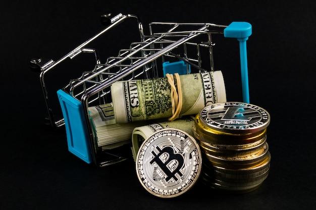 Medios de pago de criptomonedas bitcoin btc en el sector financiero Foto Premium