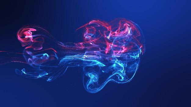 Las medusas futuristas forman la onda de partículas fluidas coloridas azules amarillas que fluyen. fondo abstracto de desenfoque de renderizado 3d Foto Premium