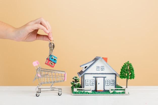 Mercado inmobiliario con casa y mini casa en carrito de compras Foto gratis