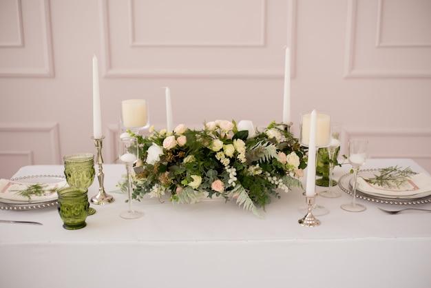 Mesa de boda decorada Foto Premium