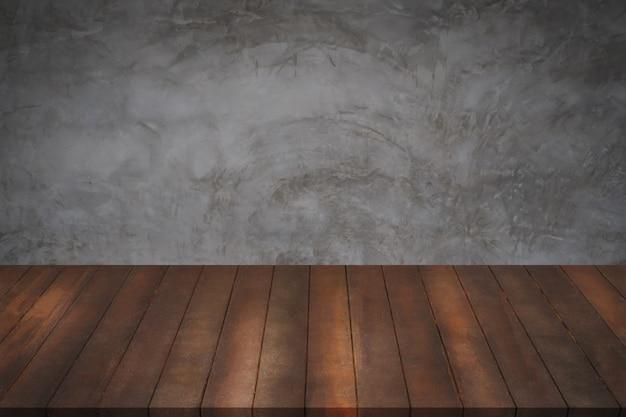 Mesa De Madera Con Fondo De Textura De Cemento