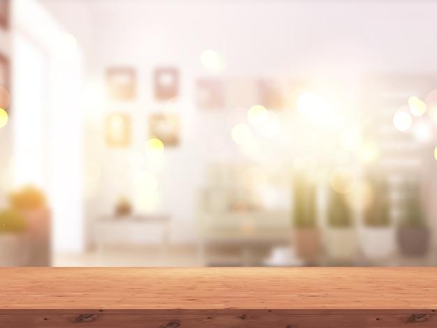 Mesa de madera 3d contra el interior de una habitación soleada desenfocada. Foto gratis