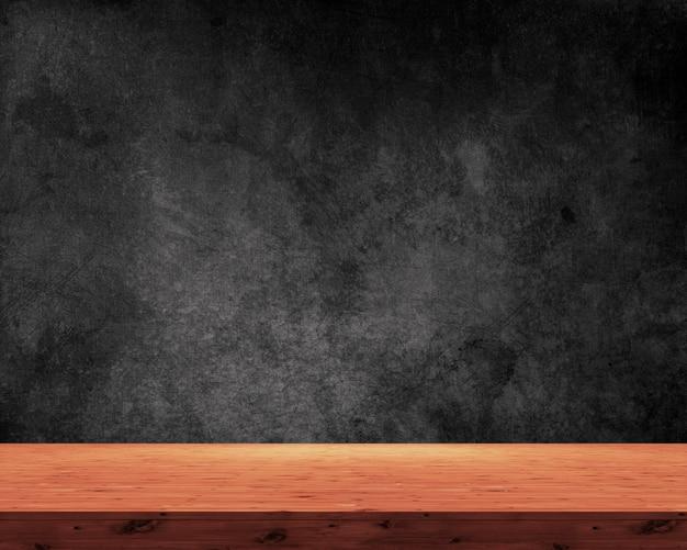 Mesa de madera 3d sobre un fondo negro grunge Foto gratis