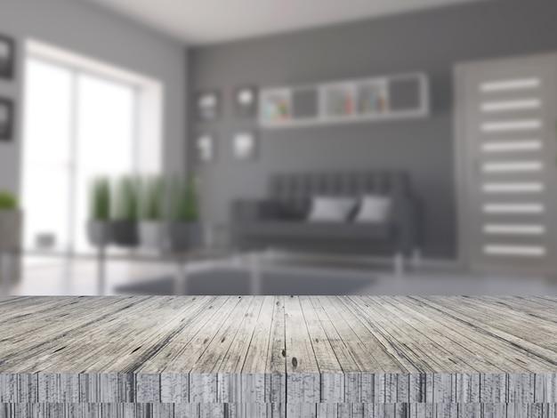 Mesa de madera 3d con vista al interior de una habitación desenfocada. Foto gratis