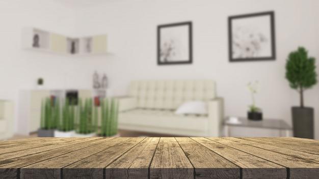 Mesa de madera 3d con vistas a una moderna sala de estar desenfocada Foto gratis