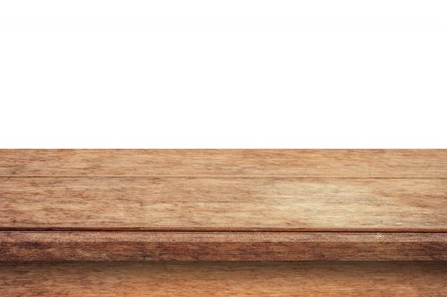 Mesa de madera vacía sobre fondo blanco aislado y montaje de pantalla con espacio de copia para producto. Foto Premium