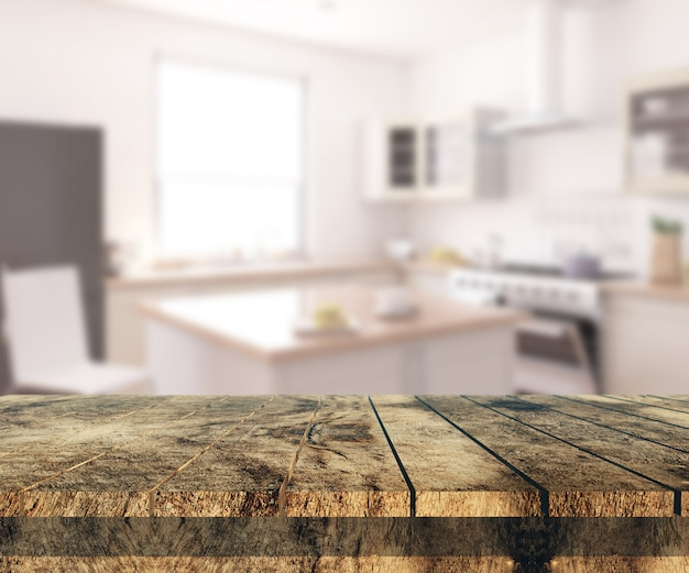 Mesa de madera vieja 3d mirando a un interior de cocina desenfocado Foto gratis