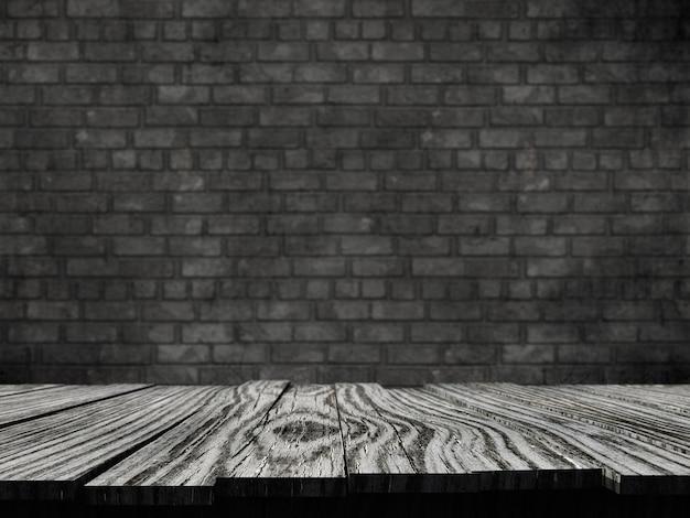 Mesa rústica vieja 3d contra un fondo de pared de ladrillo Foto gratis