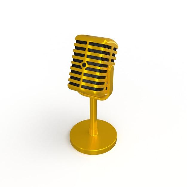 Micrófono de oro de la vendimia aislado en el fondo blanco ...