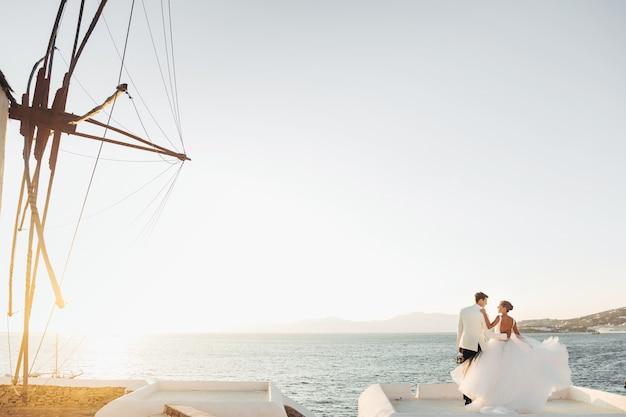 Mira desde lejos a la encantadora pareja de novios mirando la puesta de sol sobre el mar Foto gratis