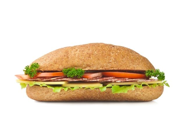 La mitad del sándwich de baguette largo Foto Premium