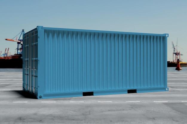 Mock up de un contenedor en un muelle Foto Premium