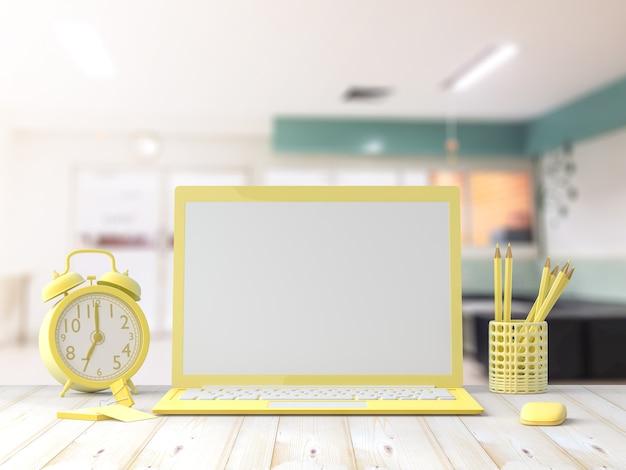 Mock-up, laptop color amarillo en mesa de madera de escritorio con tarjeta de visita en la oficina. Foto Premium