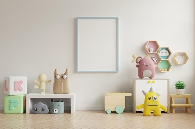 Mock up marco de póster en la habitación de los niños, sala de niños, maqueta de guardería, pared blanca. Foto Premium