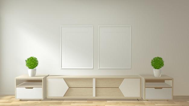 Mock up tv gabinete y pantalla con diseño minimalista y decoración de estilo japonés. Foto Premium