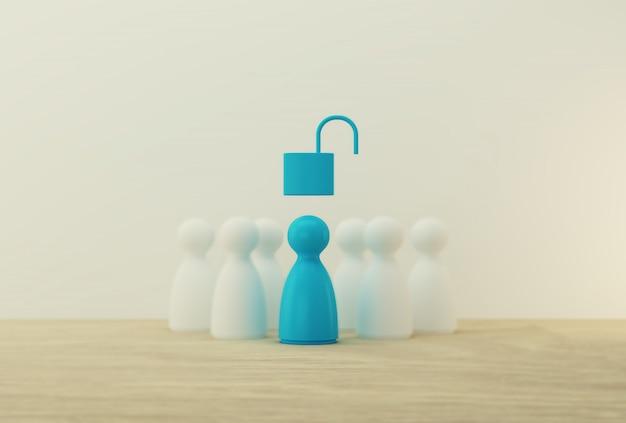 Modelo de personas azules con desbloqueo de teclas sobresaliente de la multitud. recursos humanos, gestión del talento, líder exitoso del equipo de negocios. Foto Premium