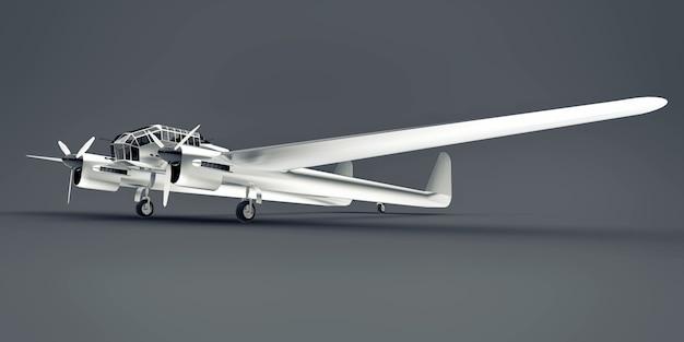Modelo tridimensional del avión bombardero de la segunda guerra mundial. cuerpo de aluminio brillante con dos colas y alas anchas. avión brillante sobre una superficie gris. Foto Premium