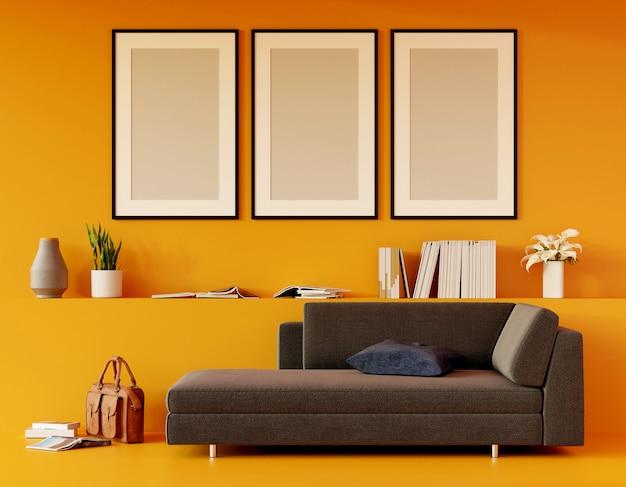 Moderna sala amarilla con sofá y muebles y grupo de marco en la pared. render 3d Foto Premium