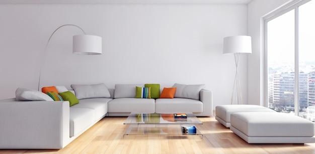 Moderna sala de estar 3d render Foto Premium
