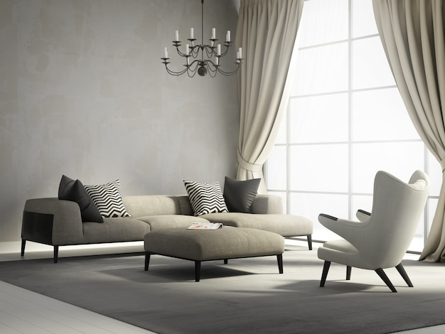 Moderna sala de estar con grandes ventanales. Foto Premium