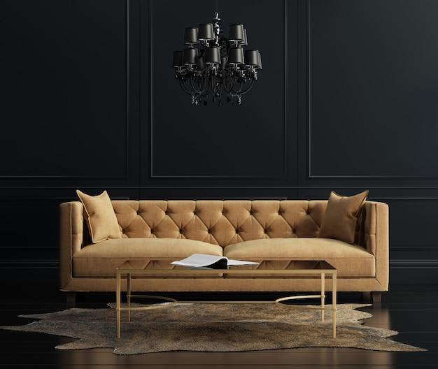 Moderna sala de estar minimalista con sofá. Foto Premium