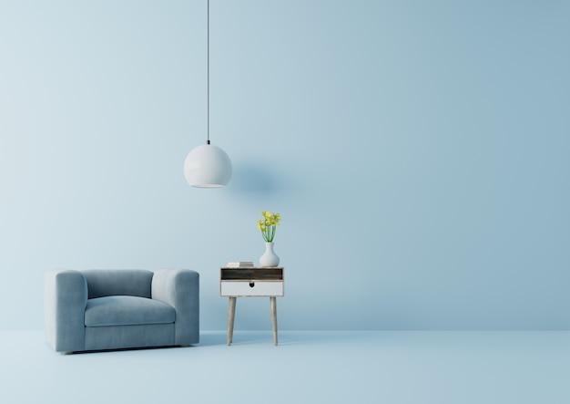 La moderna sala de estar con sillón azul tiene gabinete y lámpara en el piso de madera y la pared azul, representación 3d Foto Premium