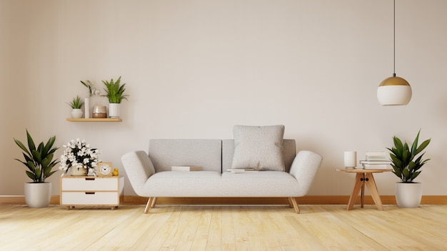 La moderna sala de estar con sofá blanco tiene gabinetes y estantes de madera en pisos de madera y paredes blancas, render 3d Foto Premium