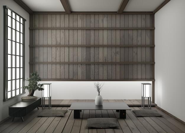 Moderna sala de estar vacía con tatami en el piso y representación tradicional en 3d en 3d. Foto Premium