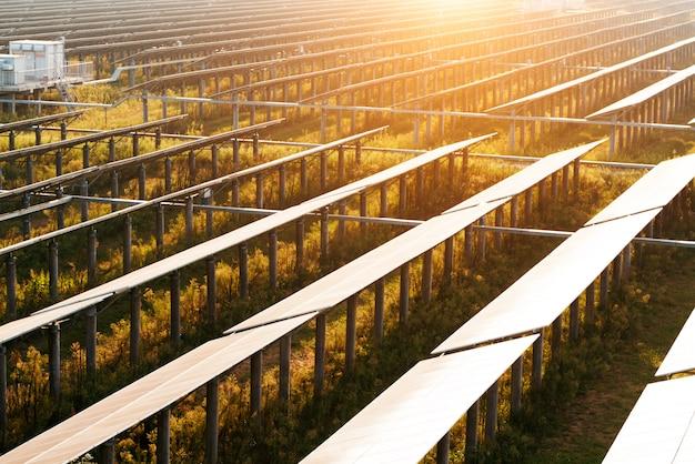Los módulos fotovoltaicos reflejan la luz del atardecer y las nubes. Foto Premium