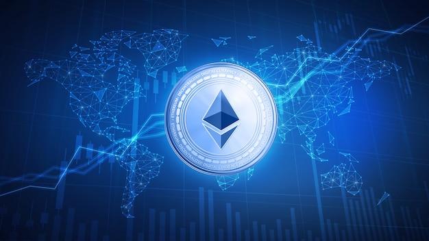 Moneda de ethereum sobre fondo de hud con gráfico de acciones de toro. Foto Premium