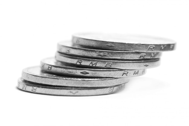 Monedas de plata apiladas Foto Premium