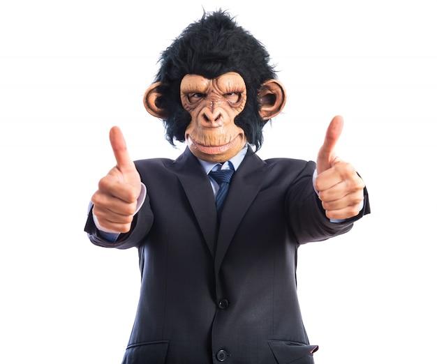 Mono hombre con el pulgar hacia arriba Foto gratis