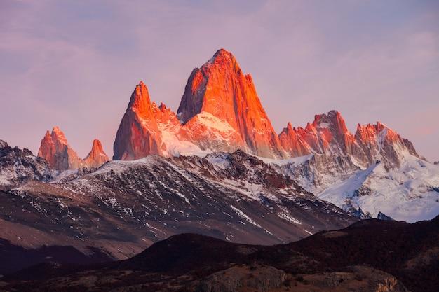 Montaña fitz roy, patagonia Foto Premium