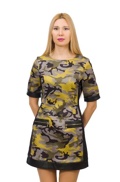Muchacha caucásica en el vestido militar del estilo aislado Foto Premium
