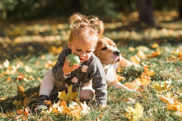 Muchacha que juega con la bola que se sienta en hierba cerca de su perro en el parque Foto gratis