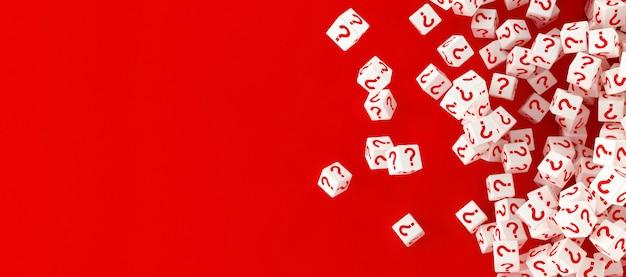 Muchos bloques que caen con signos de interrogación. 3d ilustración Foto Premium