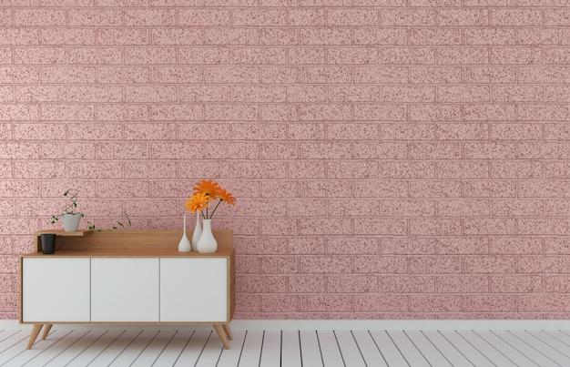 Mueble de televisión en habitación vacía moderna de loft rosa, diseños mínimos, renderizado 3d Foto Premium