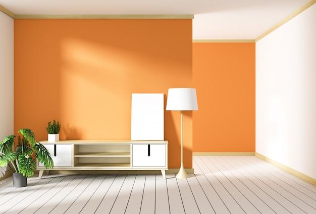 Mueble de televisión en sala roja moderna, diseños minimalistas, estilo zen. representación 3d Foto Premium