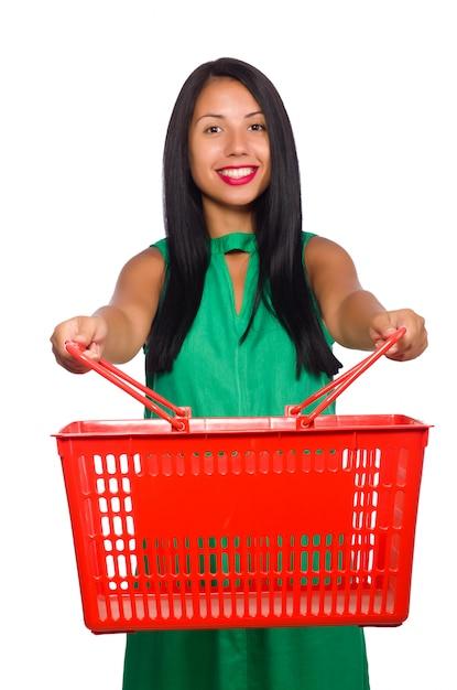 Mujer con cesta de compras aislada en blanco Foto Premium