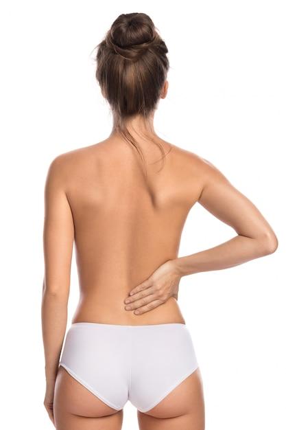 Mujer con dolor lumbar Foto Premium