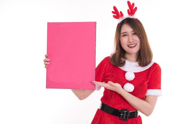Mujer Feliz Con Vestido De Santa Claus Foto Premium